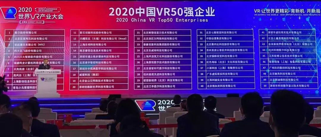 2020中国VR50强企业榜单发布 福建网龙上榜
